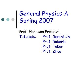 General Physics A Spring 2007