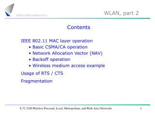 S-72.3240 Wireless Personal, Local, Metropolitan, and Wide Area Networks