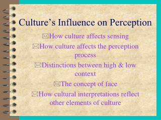 Culture�s Influence on Perception