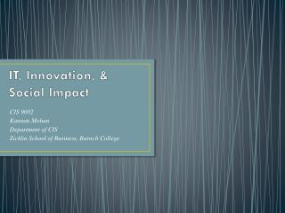 IT, Innovation, & Social Impact