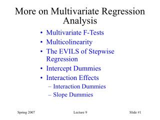 More on Multivariate Regression Analysis