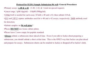 Protocol for ELISA Sample Submission-96 well : General Procedures