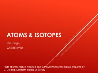 Atoms & Isotopes