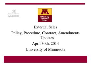 External Sales Policy, Procedure, Contract, Amendments Updates April 30th, 2014
