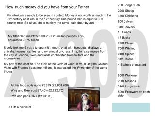 How much money did you have from your Father