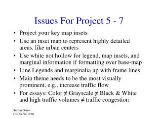 Issues For Project 5 - 7