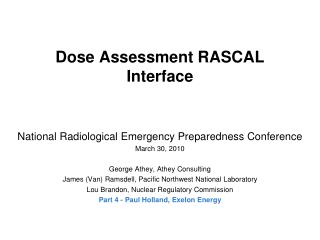 Dose Assessment RASCAL Interface