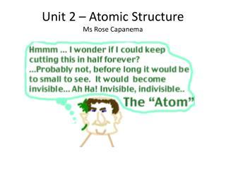 Unit 2 – Atomic Structure Ms Rose Capanema