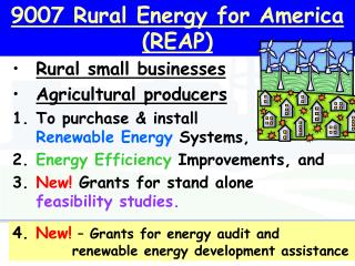 9007 Rural Energy for America (REAP)