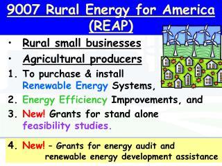 9007 Rural Energy for America (REAP)