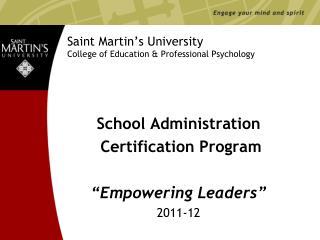 Saint Martin's University College of Education & Professional Psychology