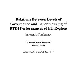 Relations Between Levels of Governance and Benchmarking of RTDI Performances of EU Regions