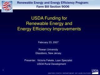 USDA Funding for  Renewable Energy and  Energy Efficiency Improvements