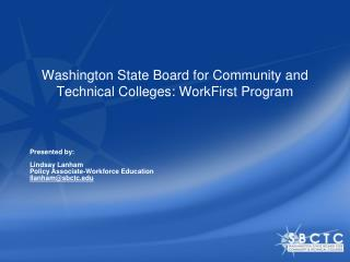Washington State Board for Community and Technical Colleges: WorkFirst Program