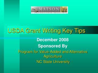 USDA Grant Writing Key  Tips
