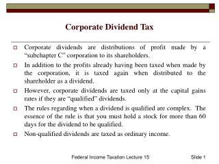 Corporate Dividend Tax