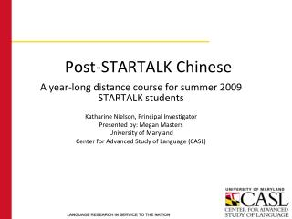 Post-STARTALK Chinese