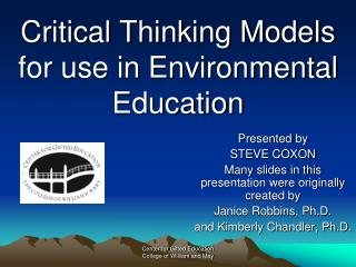 Critical Thinking Models for use in Environmental Education