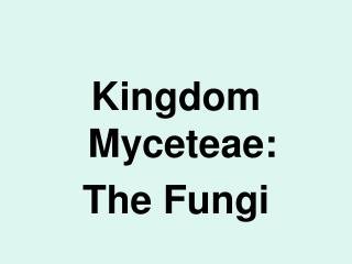 Kingdom Myceteae:  The Fungi