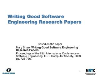 Writing Good Software Engineering Research Papers
