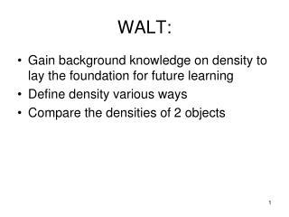 WALT: