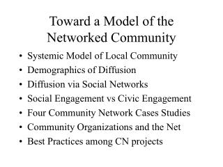 Toward a Model of the Networked Community