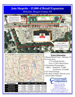 Project Information Planned Retail Center - Hillsdale, NJ