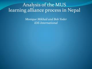 Analysis of the MUS  learning alliance process in Nepal