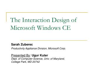 The Interaction Design of Microsoft Windows CE