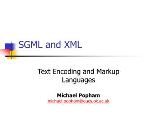 SGML and XML