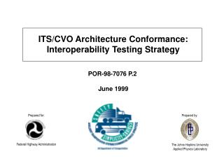 ITS/CVO Architecture Conformance:  Interoperability Testing Strategy