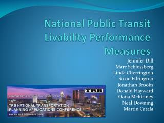 National Public Transit Livability Performance Measures