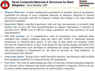 Novel Composite Materials & Structures for Blast Mitigation:   Arun Shukla, URI