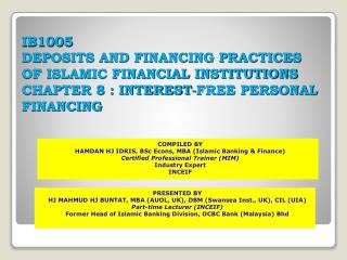 COMPILED BY HAMDAN HJ IDRIS, BSc Econs, MBA (Islamic Banking & Finance)