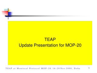 Agenda 4g TEAP Updates Presentation for MOP-20