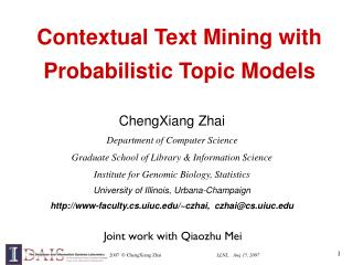 Contextual Text Mining with Probabilistic Topic Models