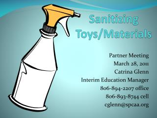Sanitizing Toys/Materials