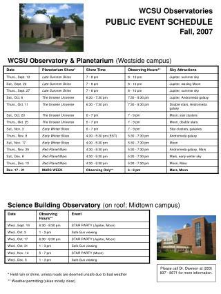 WCSU Observatories PUBLIC EVENT SCHEDULE Fall, 2007