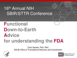 16 th  Annual NIH SBIR/STTR Conference