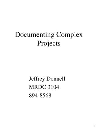 Documenting Complex Projects