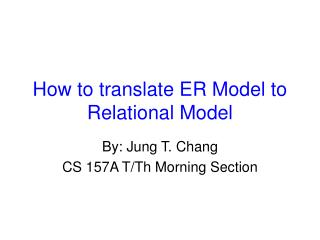 How to translate ER Model to Relational Model