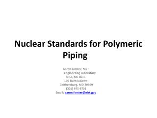 Nuclear Standards for Polymeric Piping