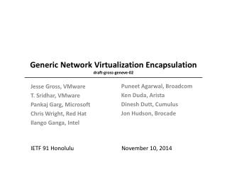 Generic Network Virtualization Encapsulation draft-gross-geneve- 02