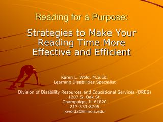 Reading for a Purpose: