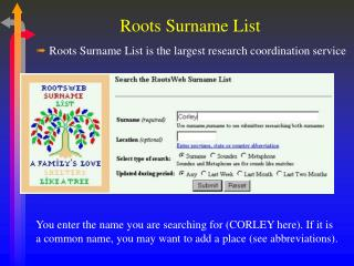 Roots Surname List