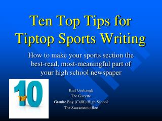 Ten Top Tips for Tiptop Sports Writing