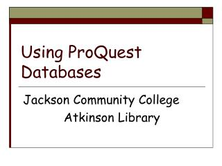 Using ProQuest Databases