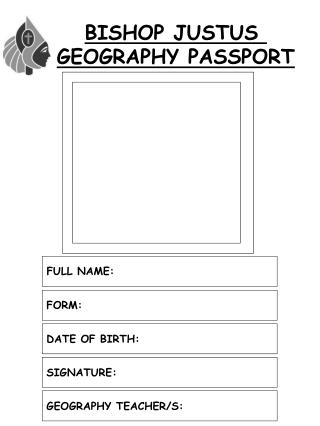 BISHOP JUSTUS  GEOGRAPHY PASSPORT