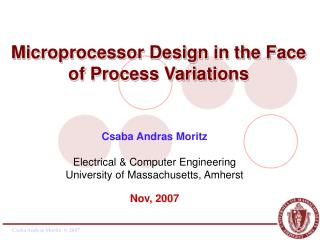 Microprocessor Design in the Face of Process Variations