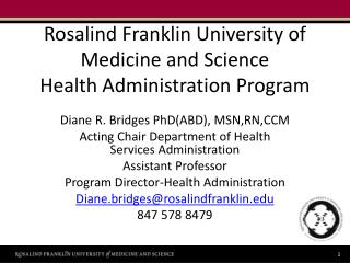 Rosalind Franklin University of Medicine and Science Health Administration Program